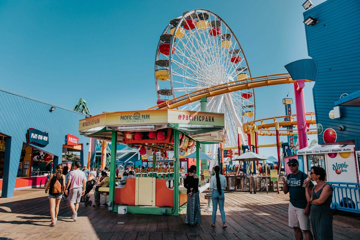 The seaside amusement park features 12 rides and a wide variety of carnival games.