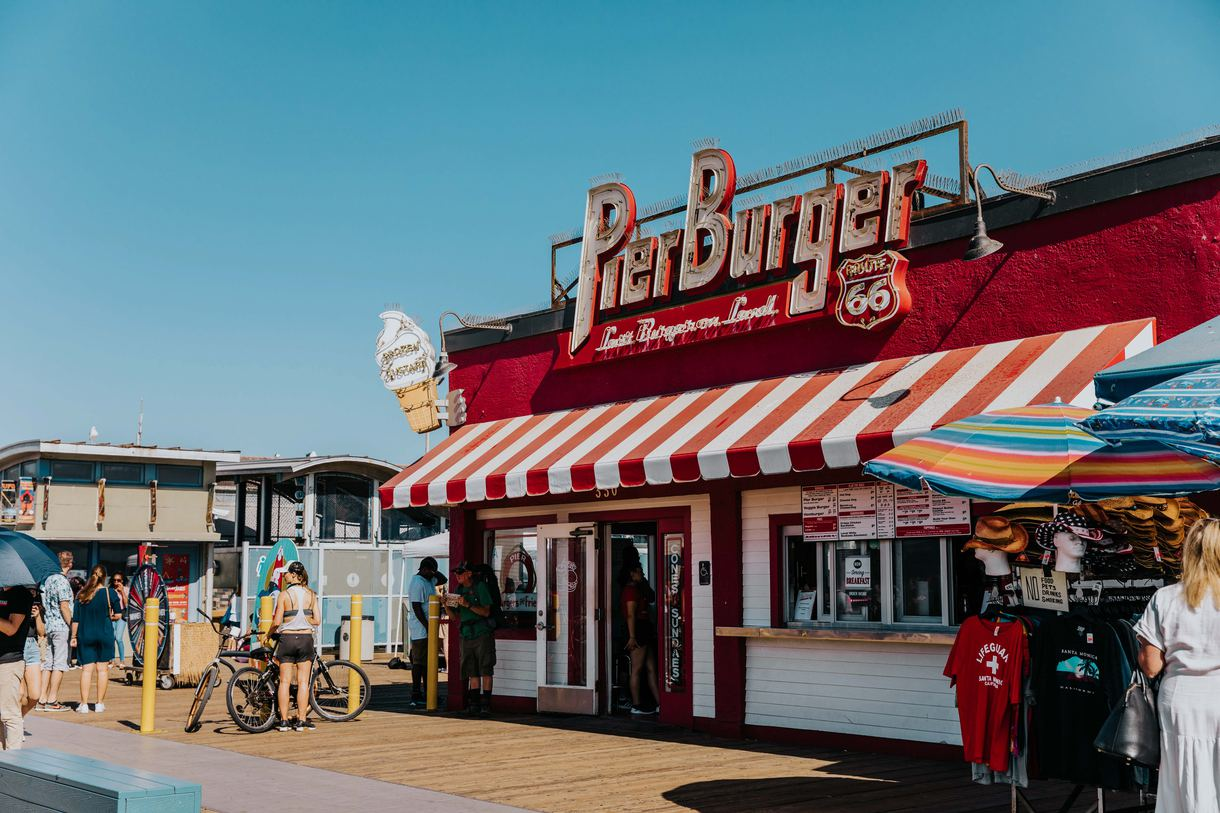 Pier Burger is another beloved snack shack on the pier, offering frozen custard and concretes in addition to burger-joint staples.