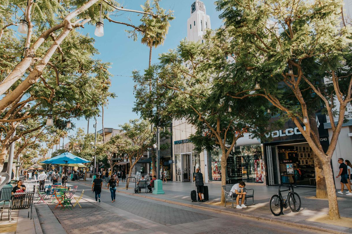 The bustling thoroughfare is lined with trees, which bring a calming aesthetic to the bustling shopping district.