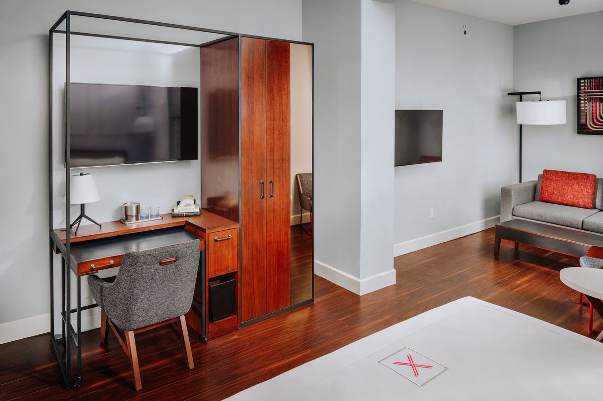 The in-room desks are ideal for guests traveling for work.