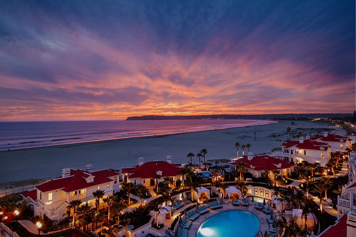 Sunset at Hotel del Coronado.