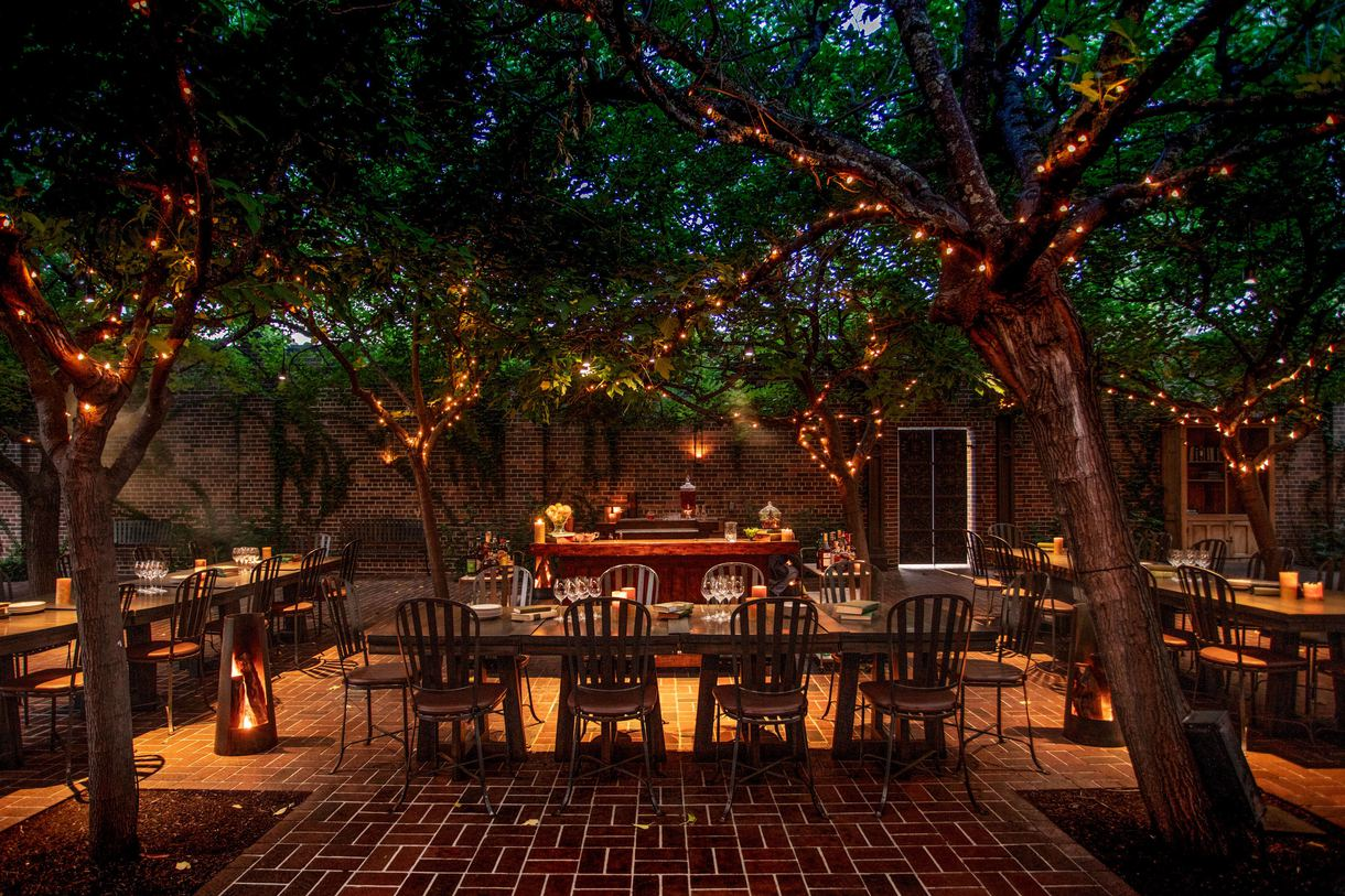 The picturesque patio provides a romantic dinner setting.