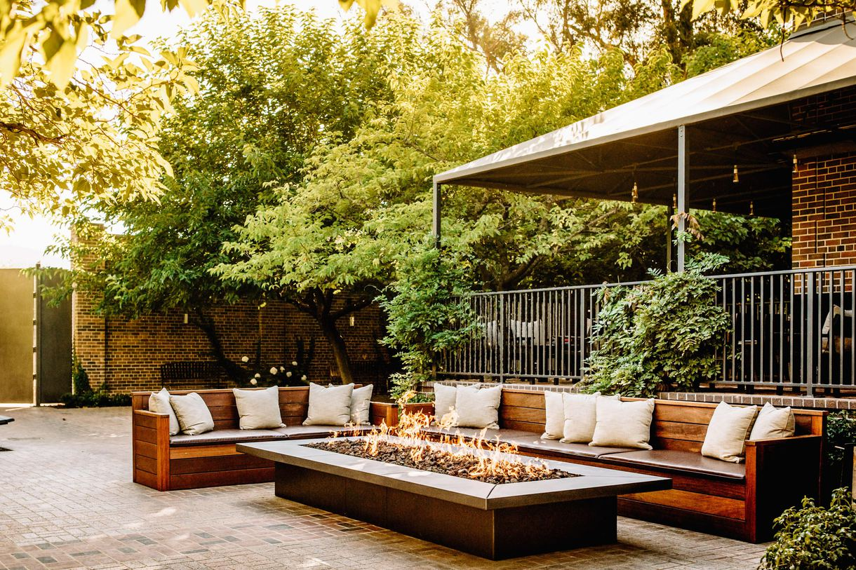 Diners can soak in the relaxing ambience by the outdoor fire pits.