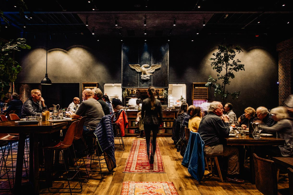 The convivial restaurant encourages family-style dining.