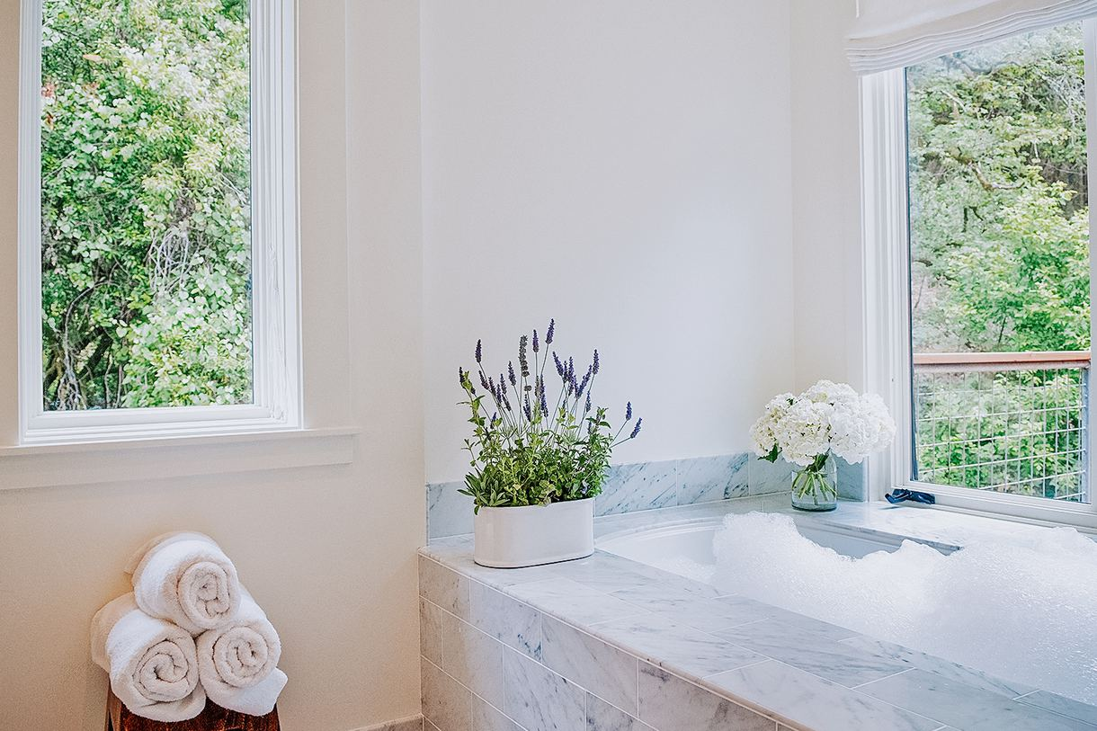 Take a bubble bath while breathing in the scent of fresh, local lavender.