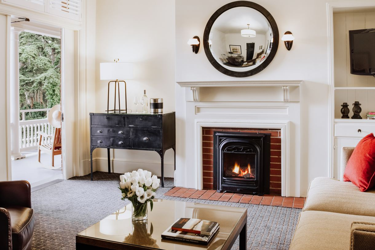 The inn's 17 suites feature a fireplace, outdoor seating area, and cozy living room.