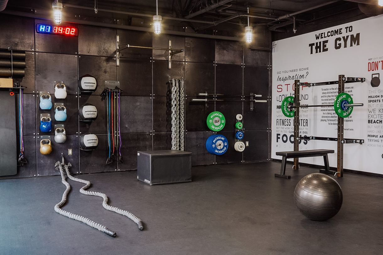 Open 24/7, the on-site gym provides exercise equipment, medicine balls, and jump ropes.