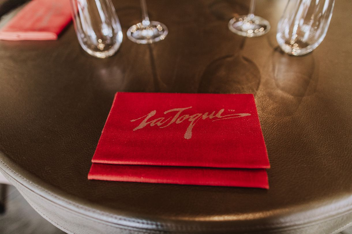 Bright red menus serve as vibrant accents.