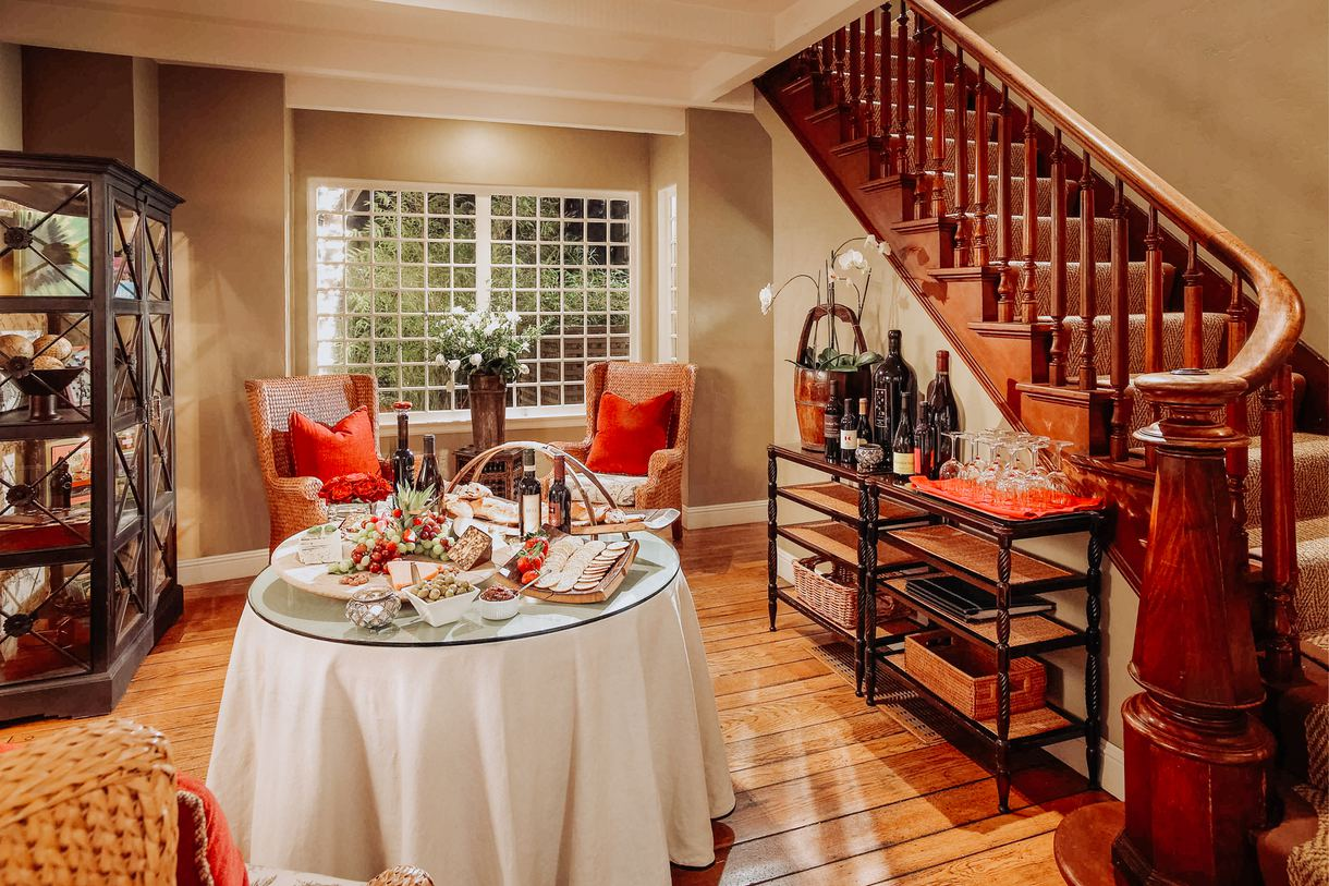Walk down the stairs for the complimentary evening wine reception.