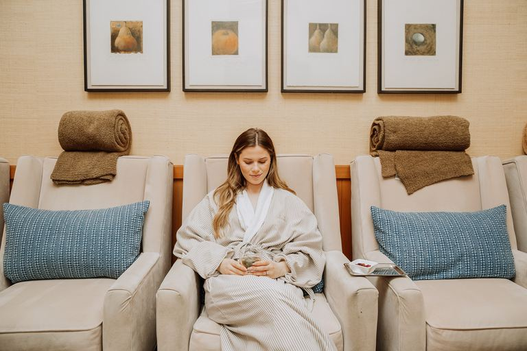 Guests can't help but unwind once they sink into a plush chair at the spa.