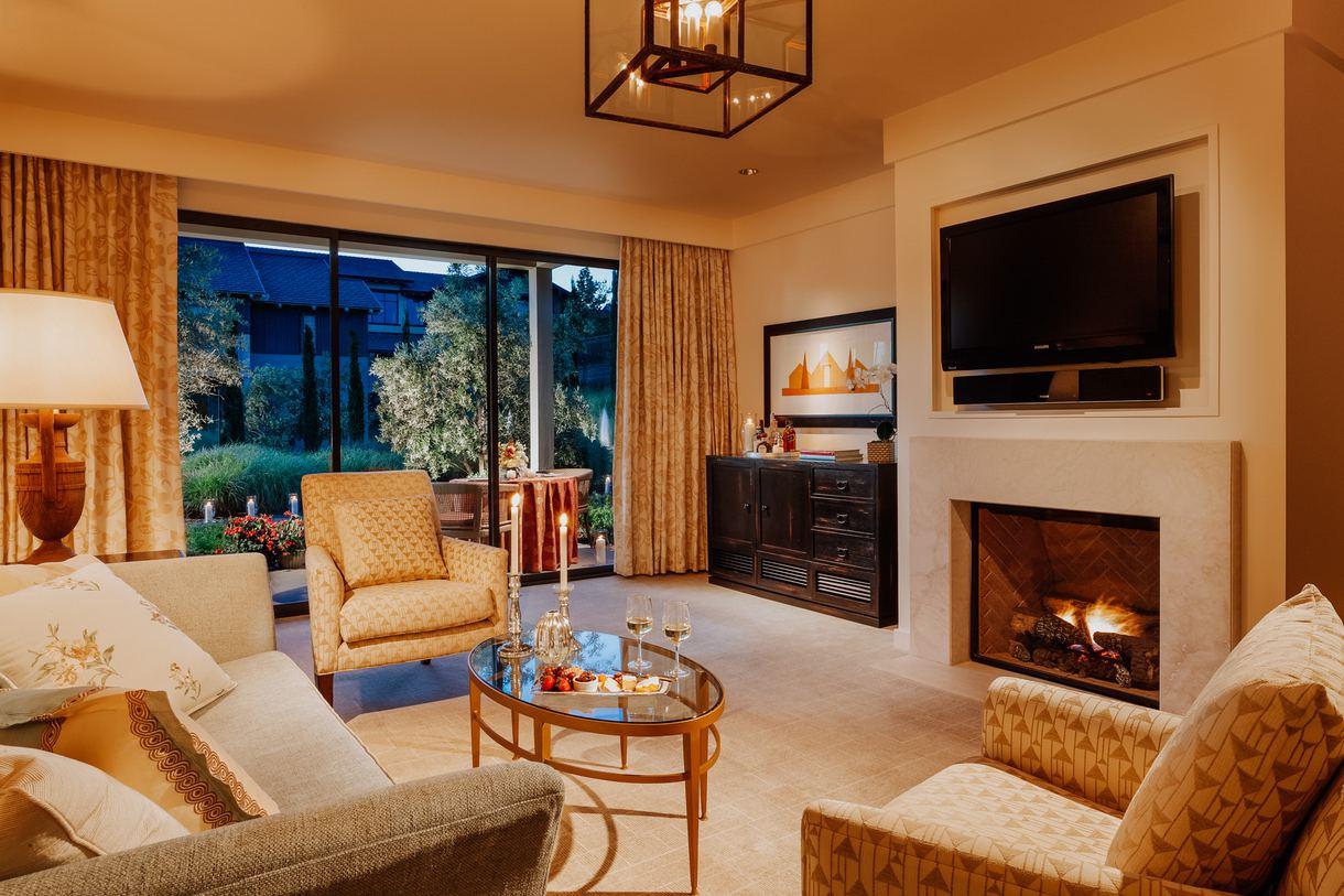 The luxury suite living area