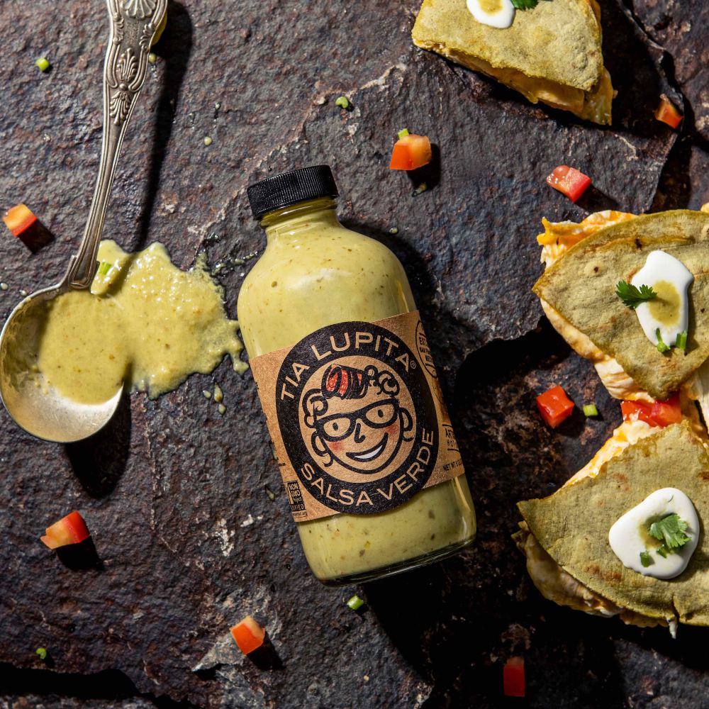 Salsa Verde Hot Sauce served with quesadillas